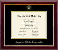 Emporia State University Diploma Frame - Gold Embossed Diploma Frame in Gallery