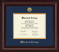 Wheelock College Diploma Frame - Presidential Gold Engraved Diploma Frame in Premier