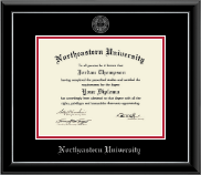Northeastern University Diploma Frame - Silver Embossed Diploma Frame in Onyx Silver
