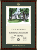 Dartmouth College Diploma Frame - Dartmouth Row Overly Campus Scene Diploma Frame in Ridgewood