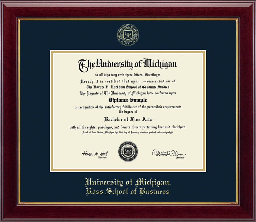 Designer Den State College: University Of Michigan Gold Embossed Diploma Frame In