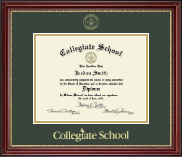 Collegiate School  Diploma Frame - Gold Embossed Diploma Frame in Kensington Gold