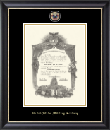 United States Military Academy Diploma Frame - Masterpiece Medallion Diploma Frame in Noir