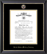 United States Military Academy Certificate Frame - Masterpiece Medallion Commission Certificate Frame in Noir
