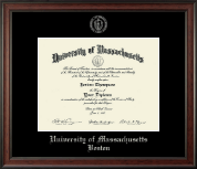 University of Massachusetts Boston Diploma Frame - Silver Embossed Diploma Frame in Studio