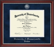 University of Massachusetts Boston Diploma Frame - Pewter Masterpiece Medallion Diploma Frame in Kensington Silver