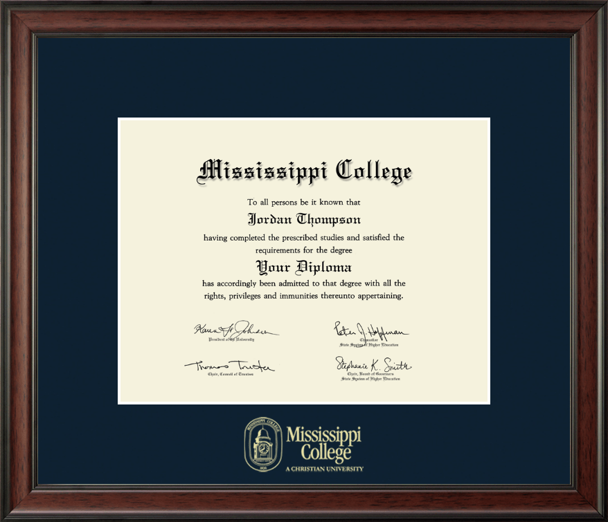 Mississippi College Gold Embossed Diploma Frame in Studio - Item #223169