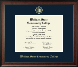 Wallace State Community College Diploma Frame - Gold Embossed Diploma Frame in Studio