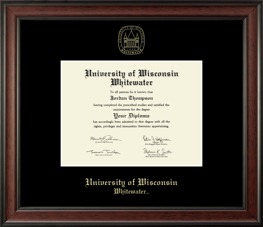 University Of Wisconsin Whitewater Gold Embossed Diploma