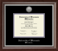 University of Wisconsin Whitewater Diploma Frame - Silver Engraved Medallion Diploma Frame in Devonshire