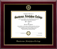 Gustavus Adolphus College Diploma Frame - Gold Embossed Diploma Frame in Gallery