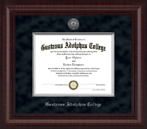 Gustavus Adolphus College Diploma Frame - Presidential Silver Engraved Diploma Frame in Premier