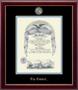 The Citadel The Military College of South Carolina Diploma Frame - Masterpiece Medallion Diploma Frame in Gallery
