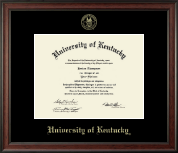 University of Kentucky Diploma Frame - Gold Embossed Diploma Frame in Studio