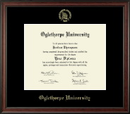 Oglethorpe University  Diploma Frame - Gold Embossed Diploma Frame in Studio