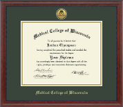 Medical College of Wisconsin Diploma Frame - Gold Engraved Medallion Diploma Frame in Signature