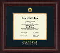 Columbia College Diploma Frame - Presidential Gold Engraved Diploma Frame in Premier