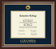 Columbia College Diploma Frame - Gold Engraved Medallion Diploma Frame in Hampshire