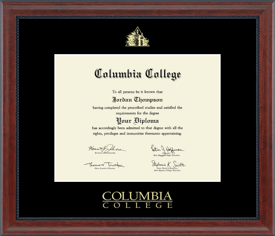 Columbia College In Alabama Gold Embossed Diploma Frame