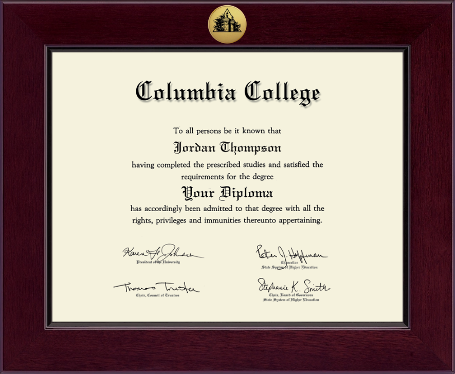 Columbia College In Alabama Century Gold Engraved Diploma