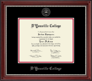 D'Youville College Diploma Frame - Silver Embossed Diploma Frame in Kensington Silver