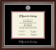 D'Youville College Diploma Frame - Silver Engraved Medallion Diploma Frame in Devonshire