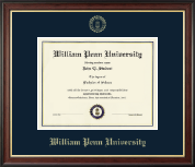 William Penn University Diploma Frame - Gold Embossed Diploma Frame in Studio Gold
