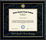 North Central Texas College Diploma Frame - Gold Engraved Medallion Diploma Frame in Onyx Gold