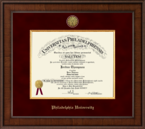 Philadelphia University Diploma Frame - Presidential Gold Engraved Diploma Frame in Madison