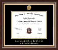 American Board for Certification in Homeland Security Certificate Frame - Gold Engraved Medallion Certificate Frame in Hampshire