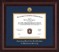 American Board for Certification in Homeland Security Certificate Frame - Presidential Gold Engraved Certificate Frame in Premier