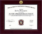 American Board for Certification in Homeland Security Certificate Frame - Century Gold Engraved Certificate Frame in Cordova