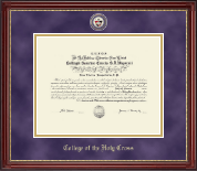College of the Holy Cross Diploma Frame - Masterpiece Medallion Diploma Frame in Kensington Gold