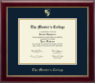 The Master's College Diploma Frame - Gold Embossed Diploma Frame in Gallery