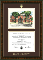 Brown University Diploma Frame - Campus Scene Edition Diploma Frame in Brentwood