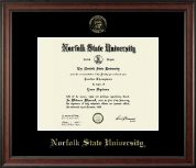 Norfolk State University Diploma Frame - Gold Embossed Diploma Frame in Studio