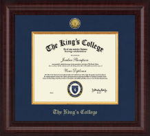 The King's College in New York City Diploma Frame - Presidential Gold Engraved Diploma Frame in Premier