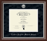 Eastern Virginia Medical School Certificate Frame - Silver Engraved Medallion Certificate Frame in Devonshire