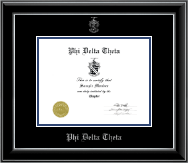 Phi Delta Theta Certificate Frame - Embossed Certificate Frame in Onyx Silver