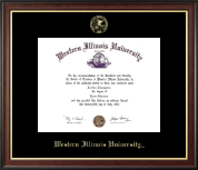 Western Illinois University Diploma Frame - Gold Embossed Diploma Frame in Studio Gold