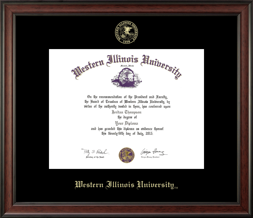 Western Illinois University Gold Embossed Diploma Frame In