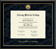 Albany Medical College Diploma Frame - Gold Engraved Medallion Diploma Frame in Onyx Gold