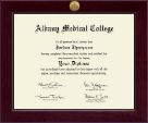 Albany Medical College Diploma Frame - Century Gold Engraved Diploma Frame in Cordova