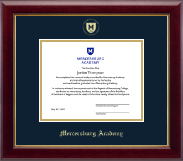 Mercersburg Academy Diploma Frame - Gold Embossed Shield Diploma Frame in Gallery