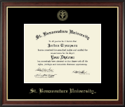 St. Bonaventure University Diploma Frame - Gold Embossed Diploma Frame in Studio Gold
