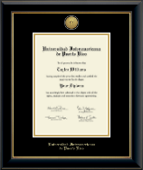 Universidad Interamericana de Puerto Rico Diploma Frame - Gold Engraved Medallion Diploma Frame in Onyx Gold