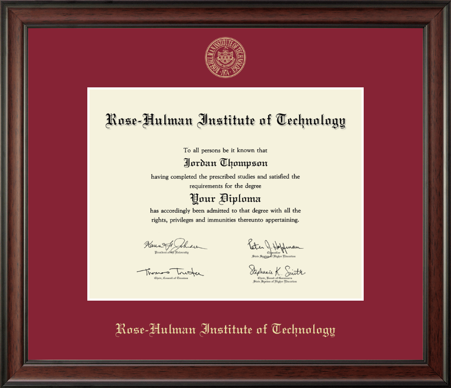 Rose Hulman Institute Of Technology Gold Embossed Diploma