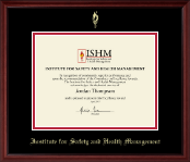 Institute for Safety and Health Management Certificate Frame - Gold Embossed Certificate Frame in Camby