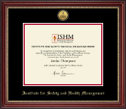 Institute for Safety and Health Management Certificate Frame - Gold Engraved Medallion Certificate Frame in Kensington Gold