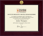 Institute for Safety and Health Management Certificate Frame - Century Gold Engraved Certificate Frame in Cordova
